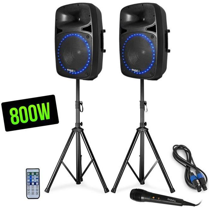 Pack sono FM-USB-SD-BLUETOOTH - 2 Enceintes actives-passives LEDs 12- + Pieds + Mic + Tél