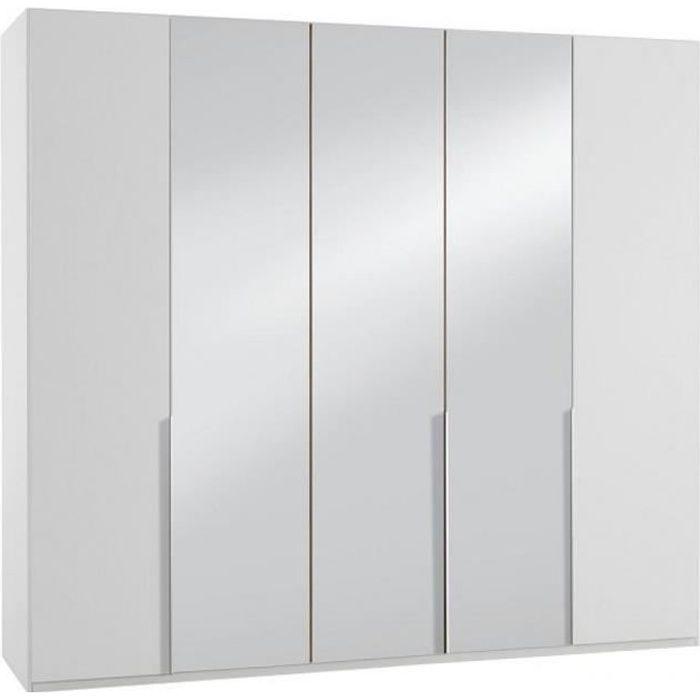 Armoire 5 portes 3 miroirs WILMA 225 cm blanche blanc Bois Inside75