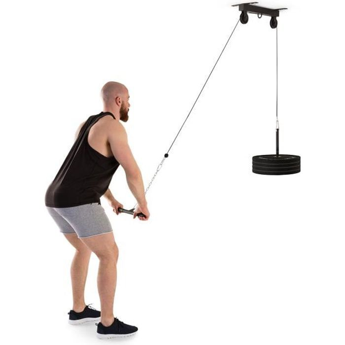 Klarfit Stronghold Station d'entraînement fitness - Exercices de traction - Poulie 2m - Barre de triceps - Fixation plafond - Noir