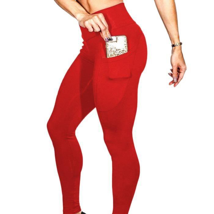 Legging Sport Femme Taille Haute Avec Poches Pantalon Yoga Fitness Minceur Running Skinny Rouge S