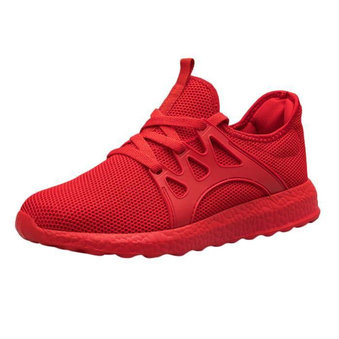 Hommes de mode décontracté maille à lacets solide chaussures de course de sport baskets légères rouge
