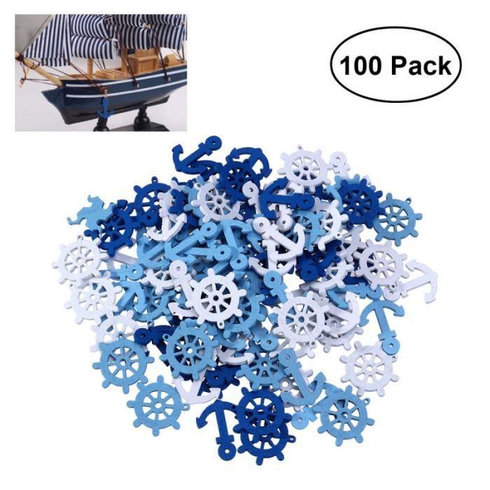 100 pièces pendentifs en bois Scrapbooking embellissements bateau gouvernail pendentif barre décorations PENDENTIF VENDU SEUL