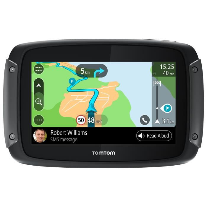 TomTom Rider 500 - GPS Moto 4,3 pouces, cartographie Europe 49 pays, Wi-Fi intégrée, lectures des messages
