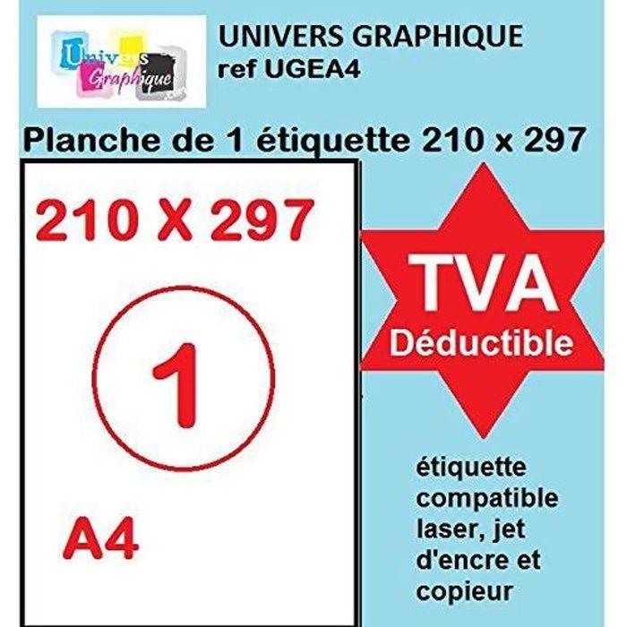 20 feuilles A4 papier adhésif blanc - Étiquette autocollante 210x297mm - planche adhésive permanente de 1 etiquette