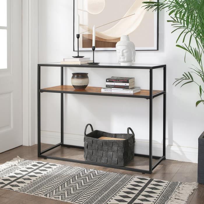 VASAGLE Table console - Table d'entrée - 100x80x40 cm - verre trempé - cadre en acier - style industriel Marron et Noir LNT10BX