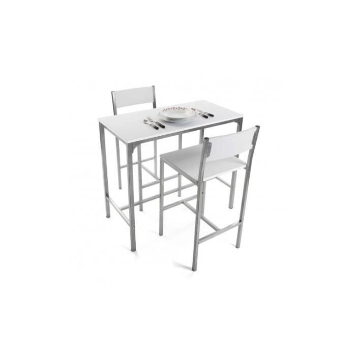 Table haute bois et métal blanc + 2 chaises DUPLEX
