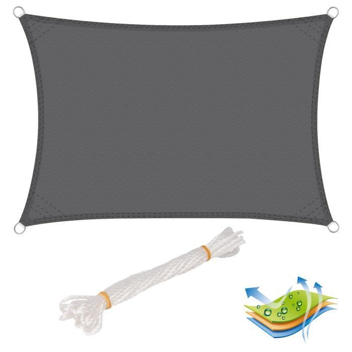 WOLTU Voile d'ombrage rectangulaire en polyester, protection contre le soleil avec protection UV pour jardin ou camping,4x6m, Gris