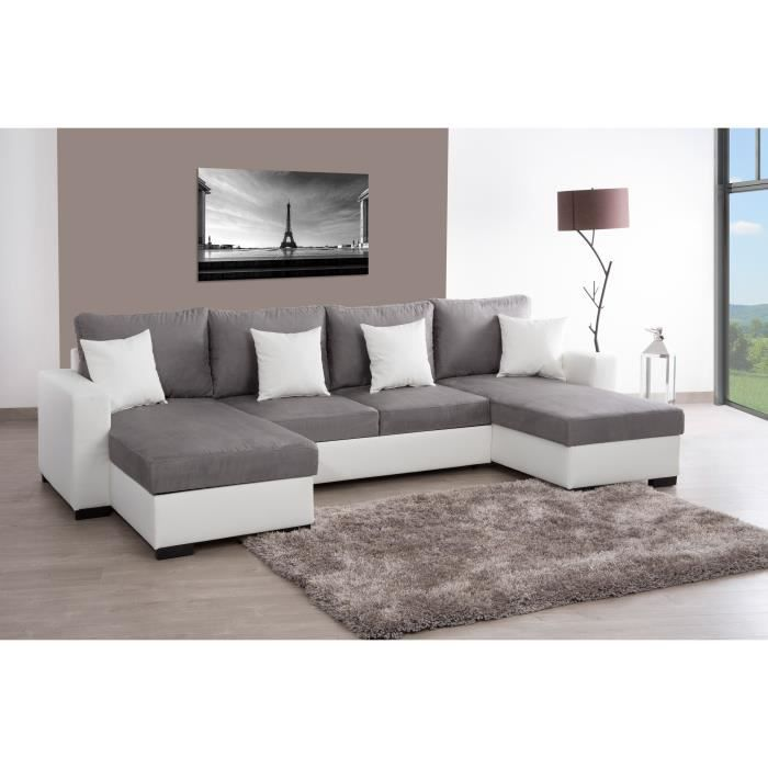 alma canap d 39 angle u convertible en simili et tissu 5 places 305x157x86 cm blanc et gris. Black Bedroom Furniture Sets. Home Design Ideas
