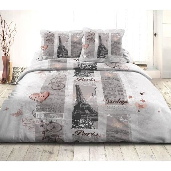 housse de couette 200x200 cm 2 taies d oreiller 63x63 cm microfibre paris vintage 47 achat. Black Bedroom Furniture Sets. Home Design Ideas