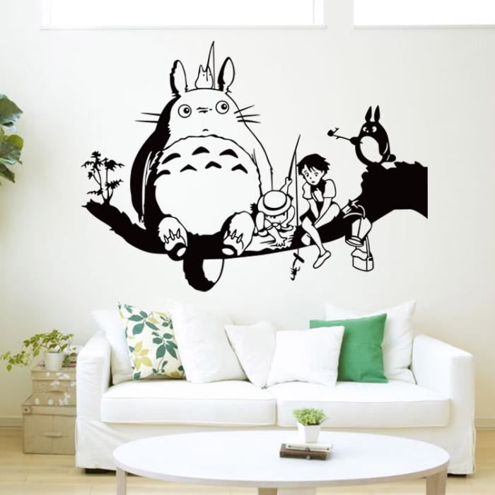 hayao miyazaki totoro et le mur d 39 arbre autocollant pour chambres d 39 enfant dessin anim. Black Bedroom Furniture Sets. Home Design Ideas