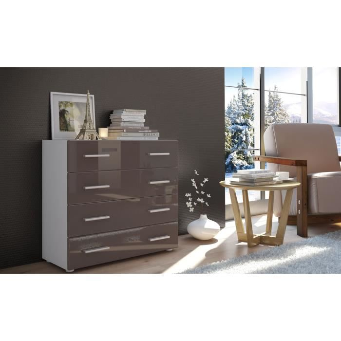commode 4 tiroirs blanc et chocolat achat vente. Black Bedroom Furniture Sets. Home Design Ideas