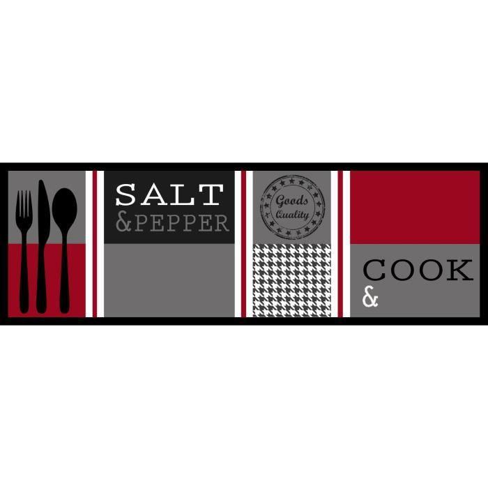 Tapis Cuisine 0,50m x 1,50m SALT & PEPPER Rouge Tapis Devant Evier |  Antidérapant et Lavable