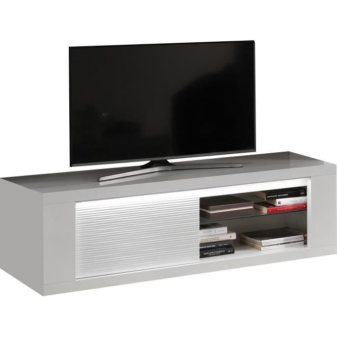 Meuble tv design a 1 porte 150 cm blanc laqu brillant - Meuble tv 150 cm blanc ...