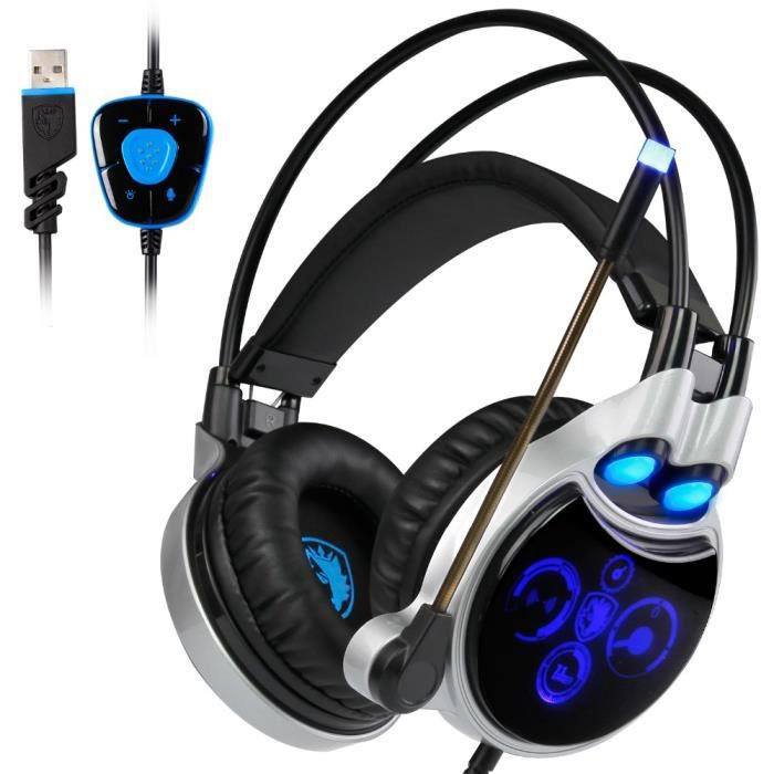 Sades R8 Gaming Headphones Son Surround Virtuel 7.1 Canaux Sono Usb Filaire Pour Casque Avec Témoin De Suppression Du Mic