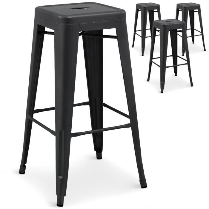 lot de 4 tabourets de bar gordon m tal noir mat achat. Black Bedroom Furniture Sets. Home Design Ideas