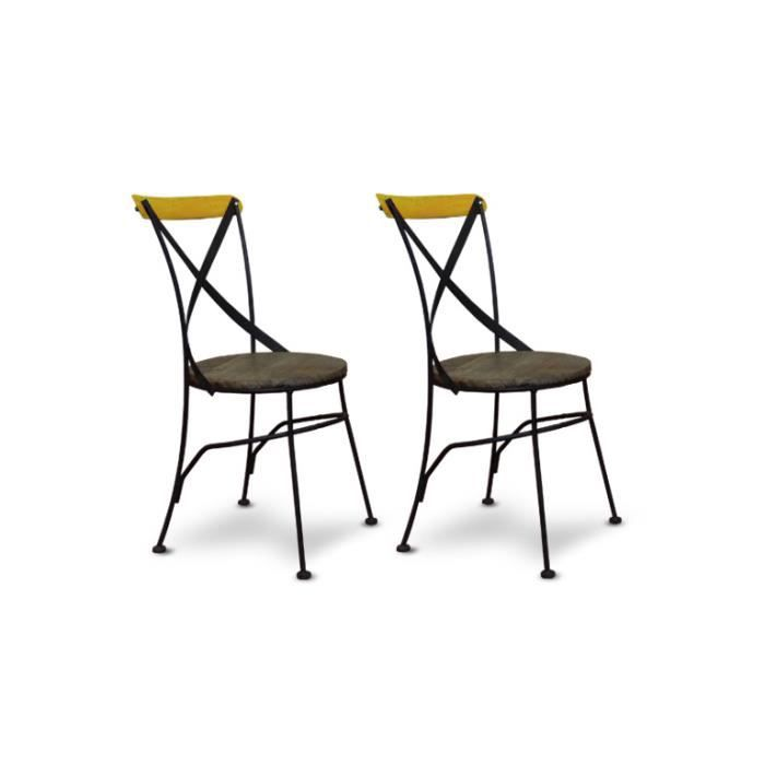 chaise industrielle bistrot m tal et bois color e. Black Bedroom Furniture Sets. Home Design Ideas