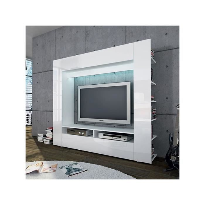 ensemble meuble tv mural blanc achat vente meuble tv. Black Bedroom Furniture Sets. Home Design Ideas
