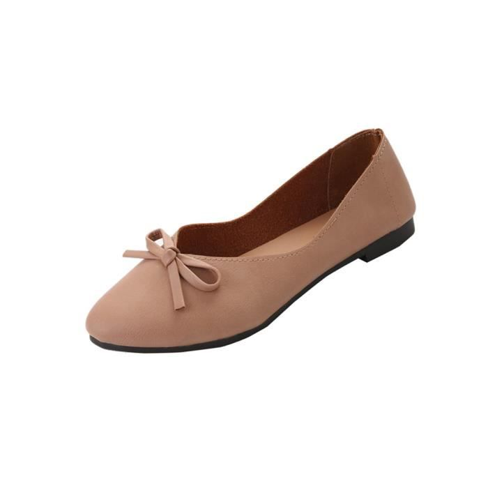 Femmes Mesdames Slip On Bowknot plat Sandales Chaussures décontractées Mode Loafer Rose 9zqVI