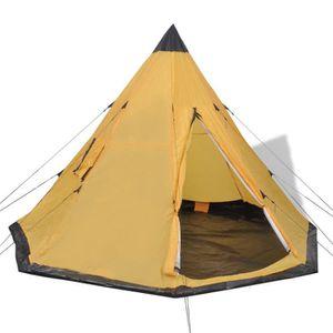 TENTE DE CAMPING Tente pour 4 personnes Jaune  365 x 365 x 250 cm