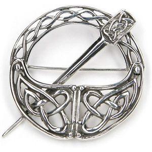 Broche celtique deux Dragons Broche /émail vert et argent