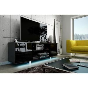 meuble tv noir achat vente pas cher cdiscount. Black Bedroom Furniture Sets. Home Design Ideas