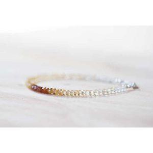 Femmes Bling Bling Noir Topaz Crystal White Gold Filled Bangle Chaîne Bracelets