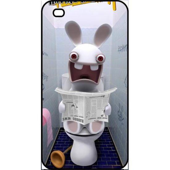 Coque apple iphone 4s lapin cretin au toilette