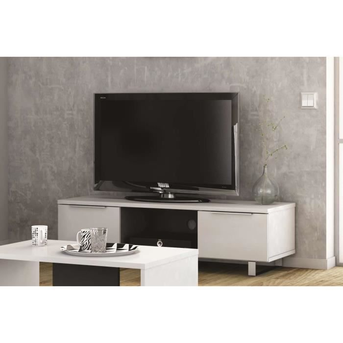 yess meuble tv 127 cm blanc gris achat vente meuble tv yess meuble tv 127 cm panneaux de. Black Bedroom Furniture Sets. Home Design Ideas