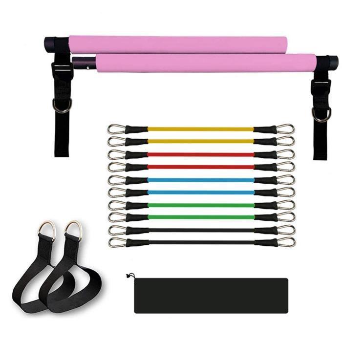 Kit de Barre de Pilates avec Bande de Résistance Réglable Musculation Fitness Squat Équipement Rose