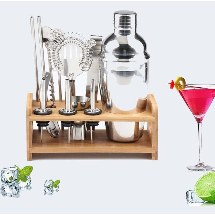 Shaker à Cocktail,Shaker Cocktail Professionnel 12 Pièces,Cocktail Shaker 750ml Kit Barman avec Support en Bois