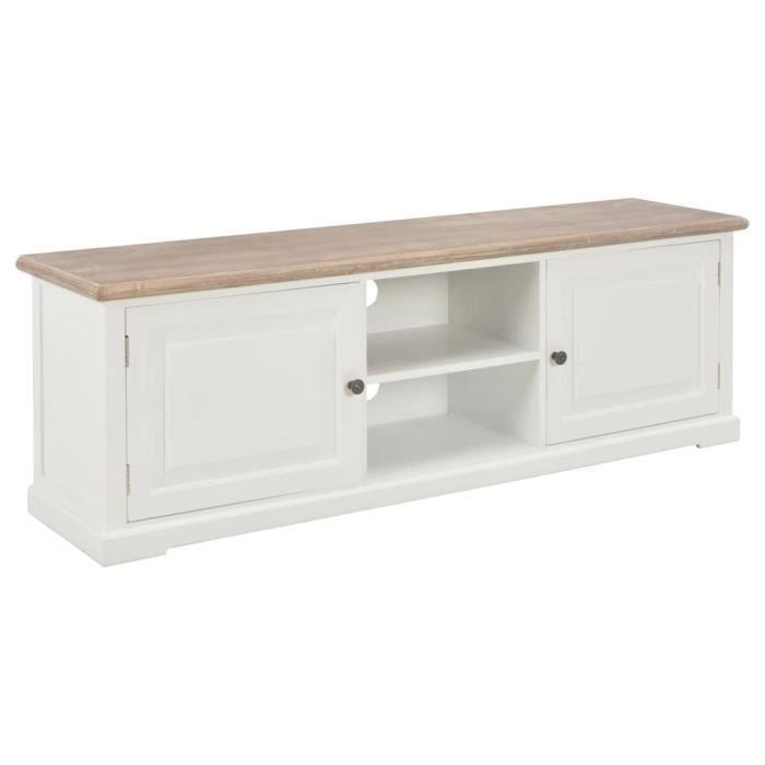 FUDANY-Meuble TV Blanc 120 x 30 x 40 cm Bois blanc + couleur du bois