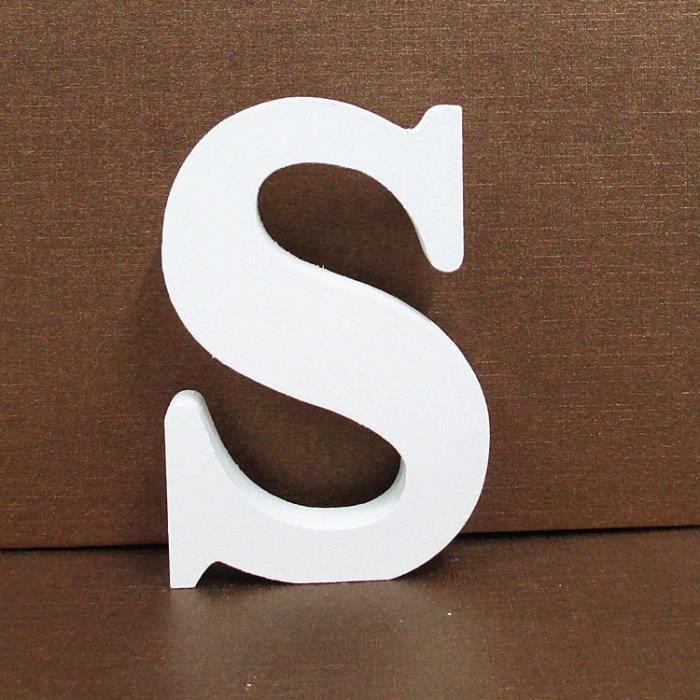 Bois Lettres en bois blanc Alphabet fête de mariage anniversaire Accueil Décorations S objet de décoration 1074