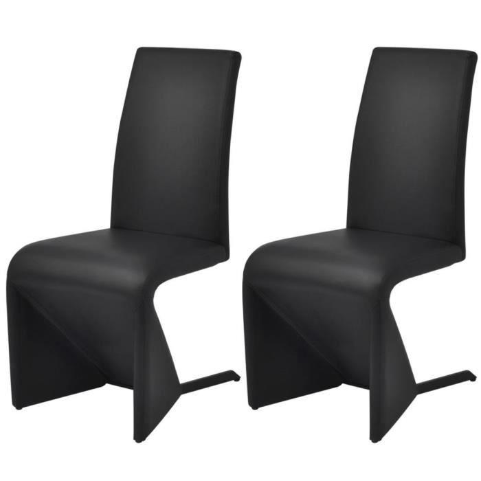 Ensemble 2 chaises en simili cuir de cuisine salon salle à manger Design Noir M2
