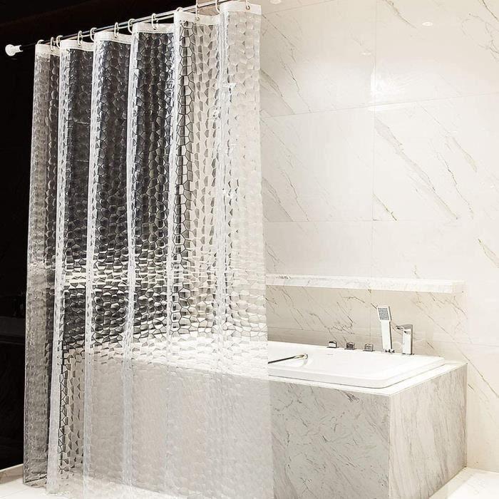 Rideau De Douche EVA Etanche Rideaux Salle de Bain Toilettes Rideau Douche Anti Moisissure, Antibactérien 180x200cm, Semi Transparen