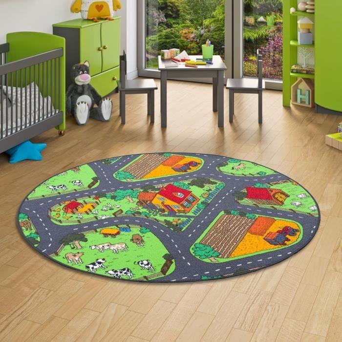Tapis de jeu pour enfant rond - ferme motifs village vert [160 cm Rond]