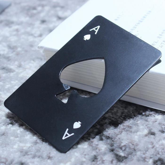 Noir-Argent Carte De Poker Bière Décapsuleur Outil En Acier Inoxydable Carte de Crédit Ouvre-bière Ca - Modèle: Black - WMKPQA10839