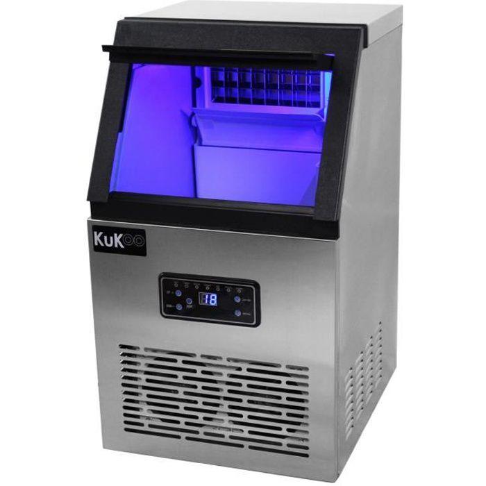 Machine à Glaçons Professionnelle en Inox pour Restaurants, Bars et Salon de Thé, 40kg de Glaçons en 24h, Broyeur à glace pilée