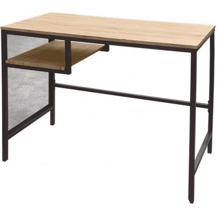 BUREAU TABLE LOFT DESIGN INDUSTRIEL EN BOIS ET METAL ORDINATEUR PC TABLE