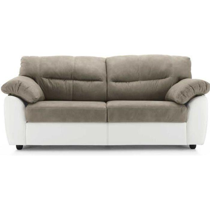 Canapé ALBA en simili cuir avec 2 sièges gris blanc
