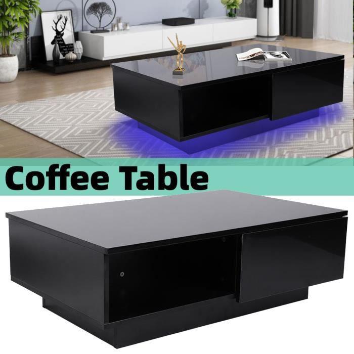 Table basse led contemporain noir Table Basse de Salon Design Table de Salon -JNG