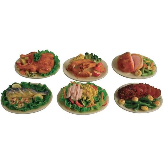 Melody Jane Poupées Maisons Maison de Poupées 6 Plaques De Nourriture Boeuf Poisson Porc Etc Miniature Salle à Manger Accessoire