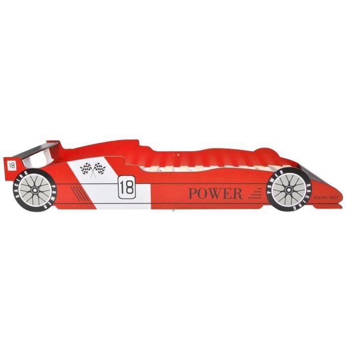 HOT Garden1845 Lit enfant Scandinave Lit voiture de course pour enfants - 90 x 200 cm Rouge Discount