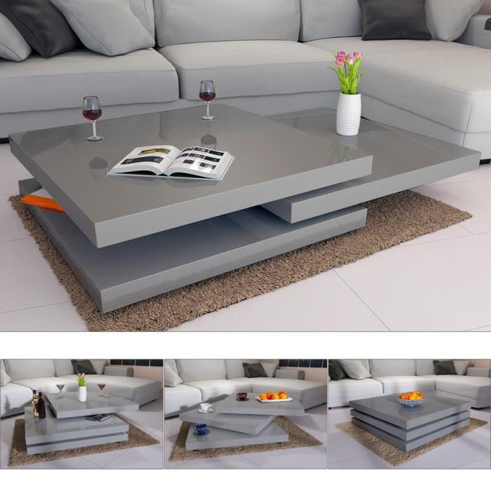 Table Basse de Salon gris Moderne carré 76x76cm laquée Brillante rotative à 360° Charge Max. 20 kg Design innovant Table intérieur