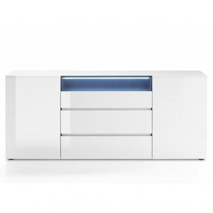 Buffet VERONA blanc laque brillant 2 portes 3 tiroirs blanc Inside75