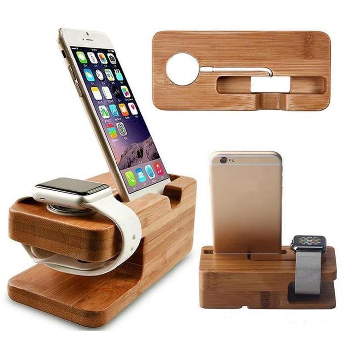 Support de charge en bois 2 en 1 pour iWatch iPhone support en bois