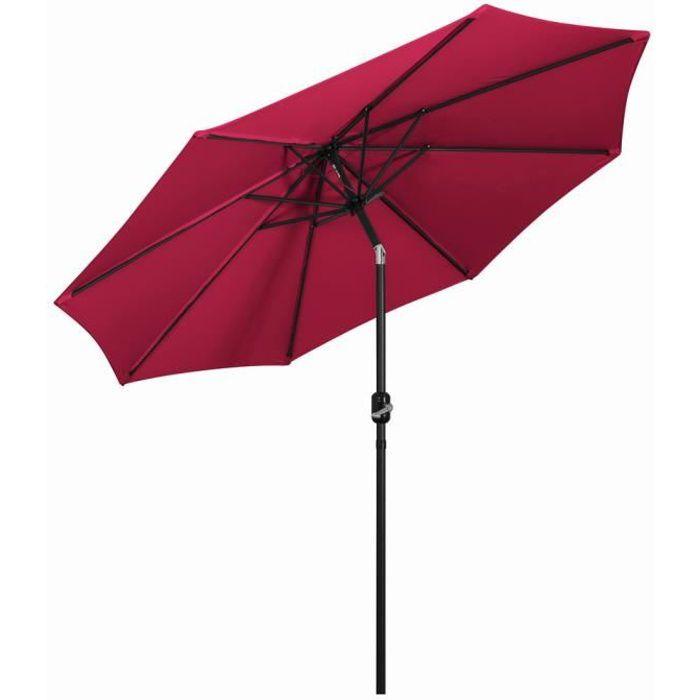Parasol Droit Inclinable 2.7M avec manivelle Exterieur, Rond, Pliable, pour Balcon Piscine Plage, Rouge - Mondeer