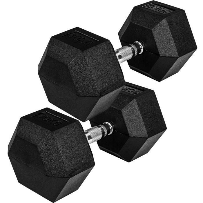 Movit® haltère hexagonal, Dumbbells en fonte avec revêtement caoutchouc, 2x30kg, barre chromée, moletée et antidérapante