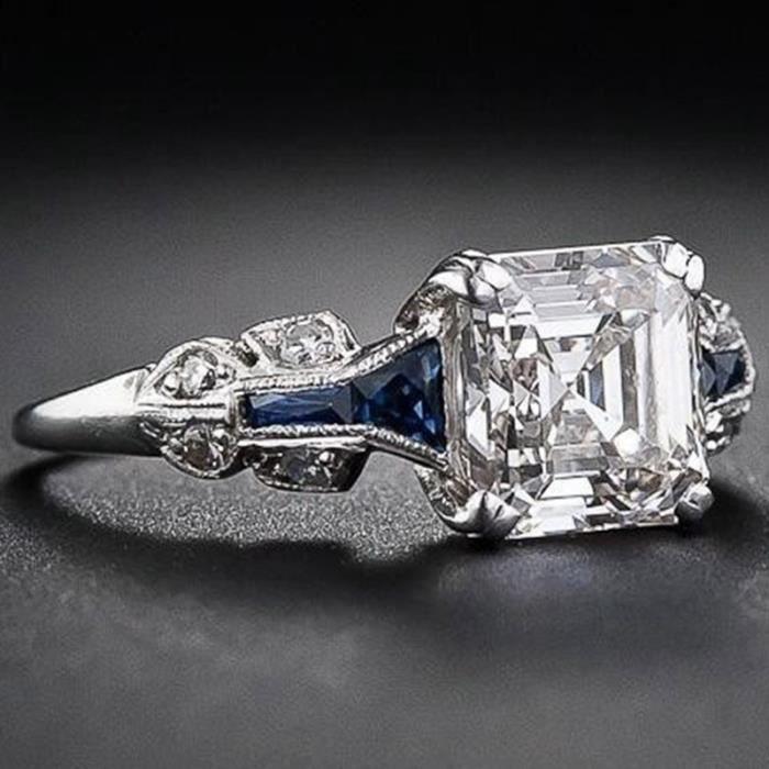 Rétro Femmes Bijoux En Argent Sterling 925 Bague Princesse Coupe 3.47Ct Diamant Saphir Antique Proposition Anneaux De Mariage