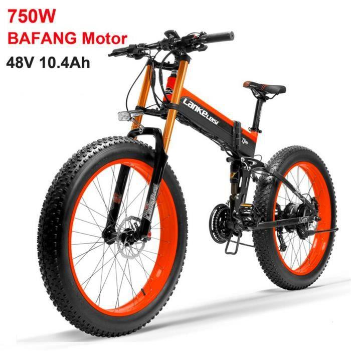 T750plus Vélo électrique à assistance pédale de 26 pouces, batterie 48V 10.4Ah, Moteur Bafang 750W de Haute qualité (rouge)