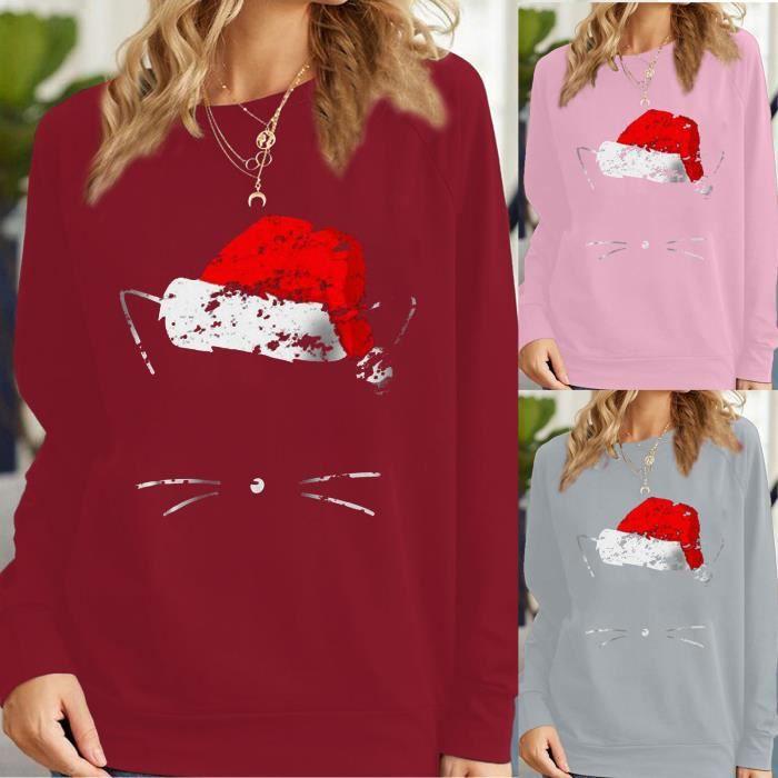 【PULL - CHANDAIL】Chandail de Noël à motif de lettres de chat pour femmes TOP xiao1332